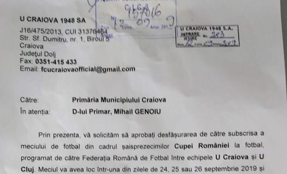 FCU Craiova împotriva U Cluj-Napoca pe Oblemenco? Cum răspunde Primăria Craiova la cererea FCU?