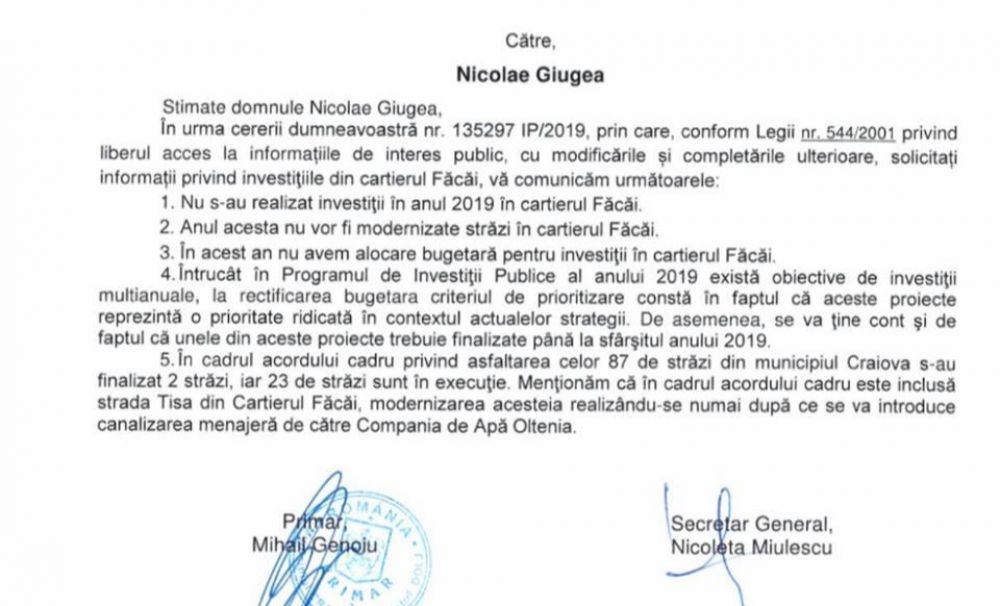 Nicolae Giugea: Salarii de mii de euro la Primăria Craiova, investiții – zero în Făcăi