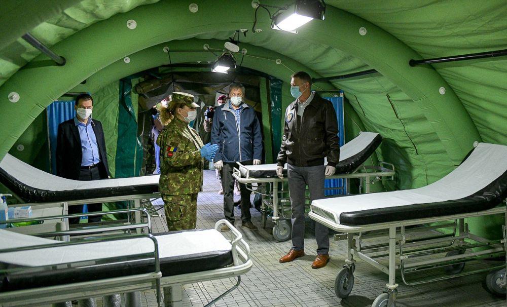 Președintele Iohannis și premierul Orban, în prima linie. Spitalul Militar de Campanie ROL II, realizat în timp record