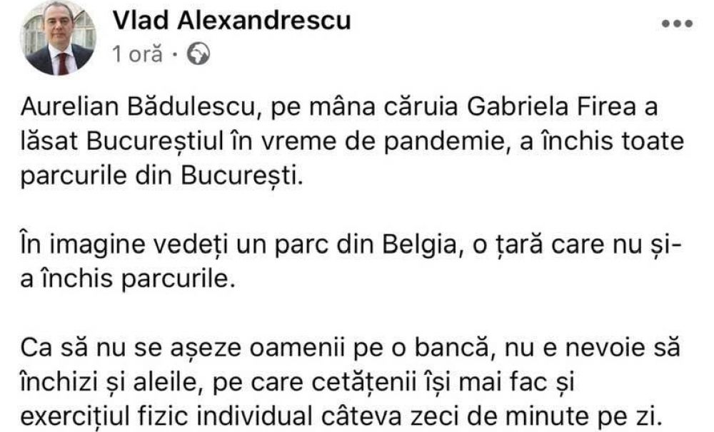 Senatorul Vlad Alexandrescu deviază grav de la realitate. Vrea să se plimbe prin parcuri deși legislația interzice