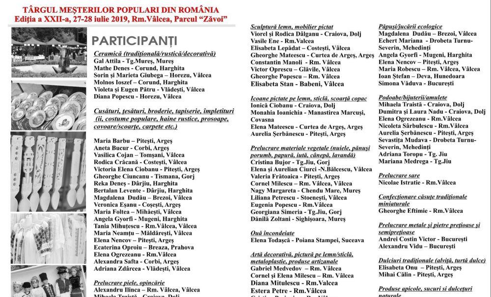 Târgul Meşterilor Populari din România, organizat de Zilele Imnului Naţional, a ajuns la cea de-a XXII-a ediţie